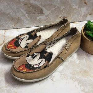 Disney crocs loafers sz 8 taupe Mickey Mouse